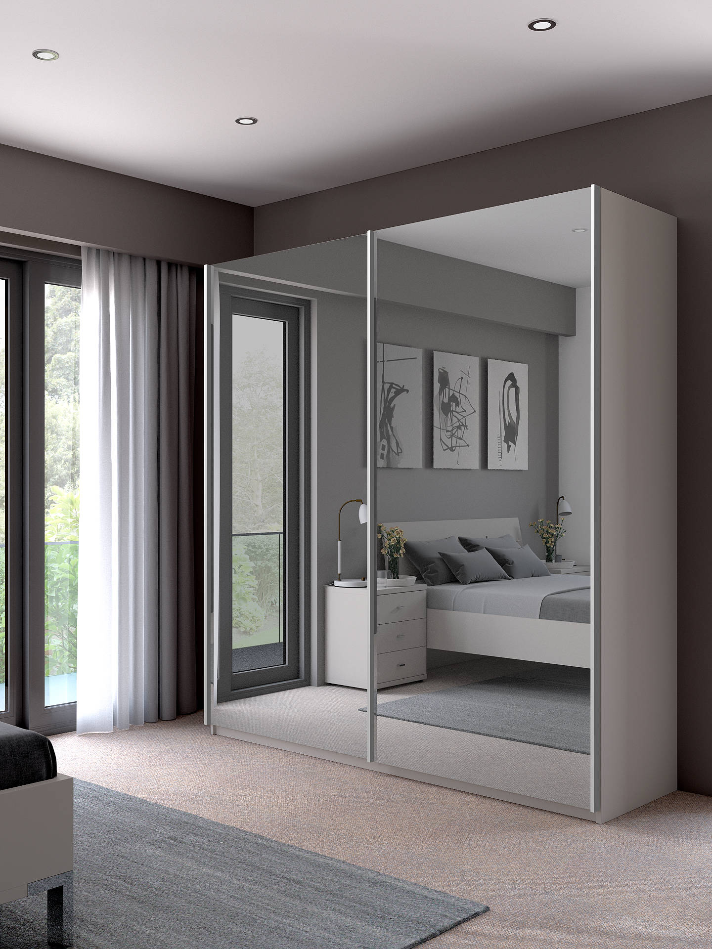 John Lewis Partners Elstra 200cm Wardrobe With Mirrored Sliding Doors Alpine White Online