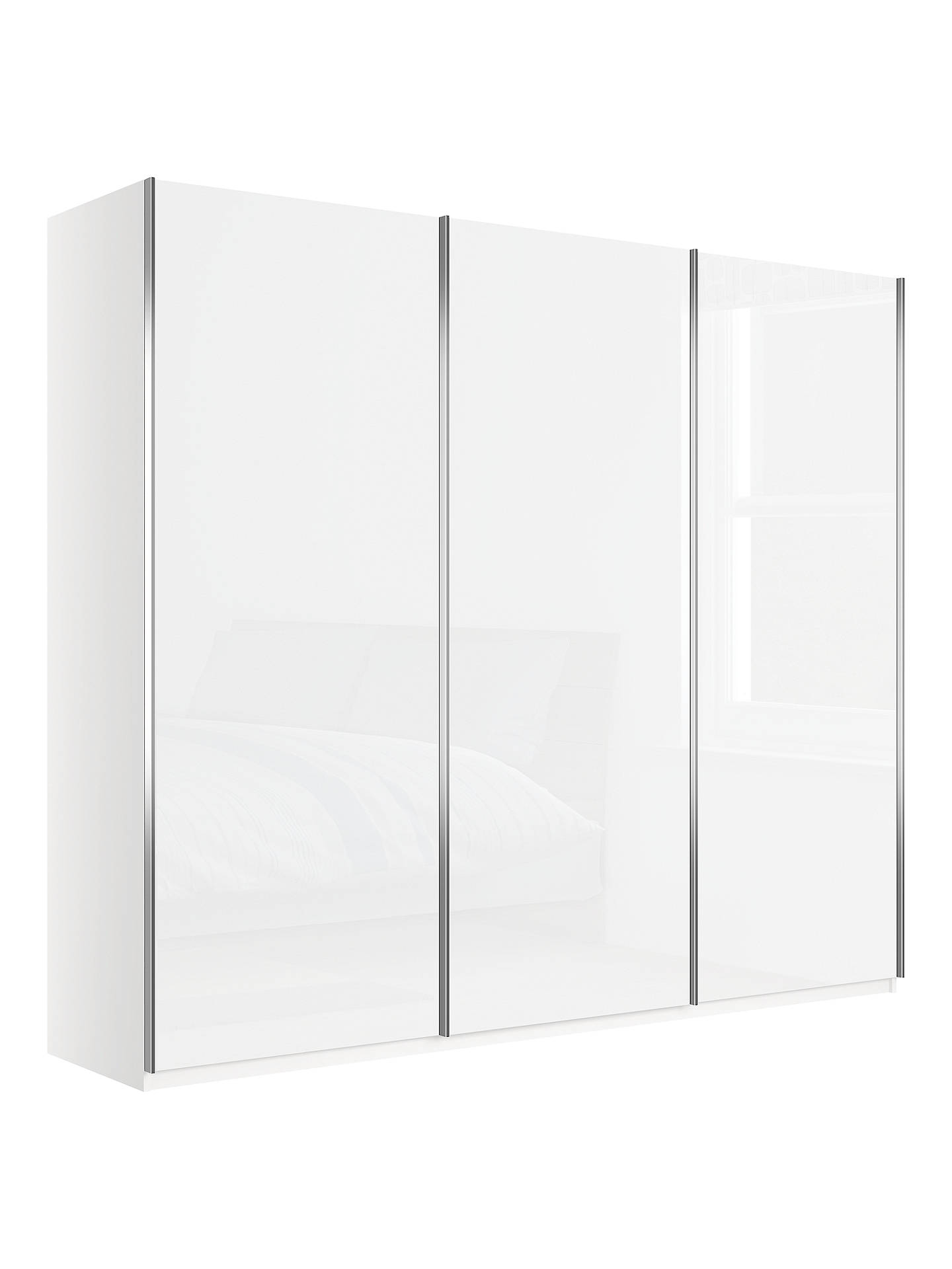 BuyJohn Lewis & Partners Elstra 250cm Wardrobe with White Glass Sliding Doors, Alpine White Online at johnlewis.com