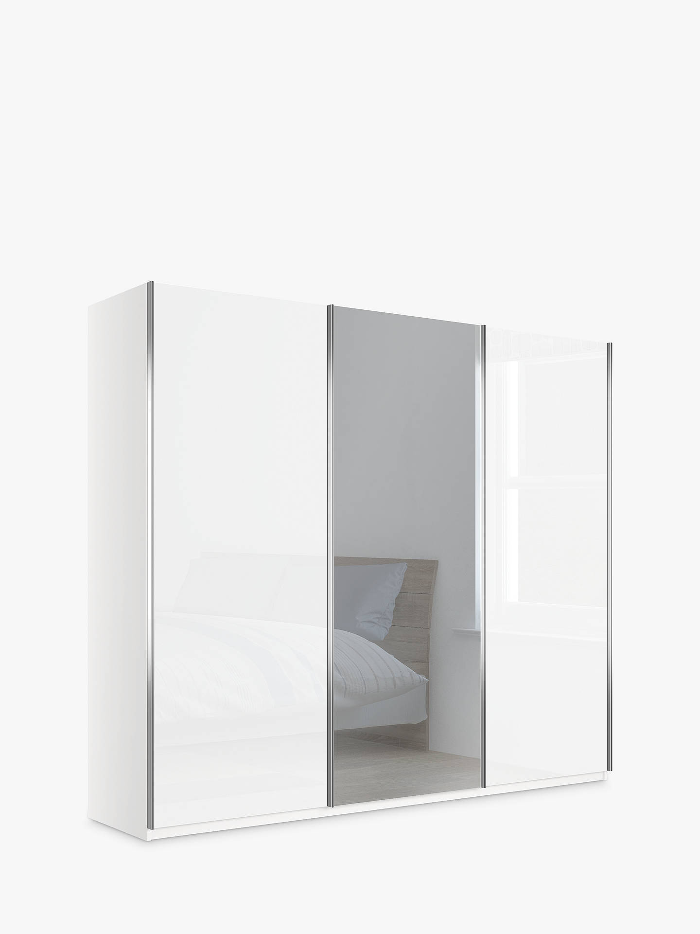 John Lewis Partners Elstra 250cm Wardrobe With Glass And Mirrored