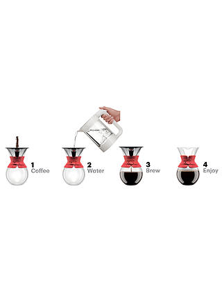 Buy Bodum Pour Over Coffee Maker, 1L, Red Online at johnlewis.com
