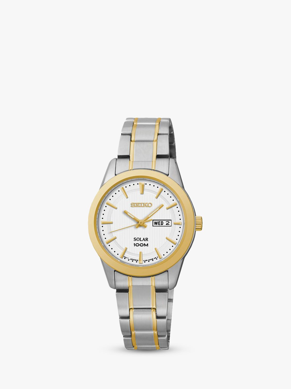 Seiko Seiko SUT162P1 Women's Solar Stainless Steel Bracelet Strap Watch, Silver/Gold