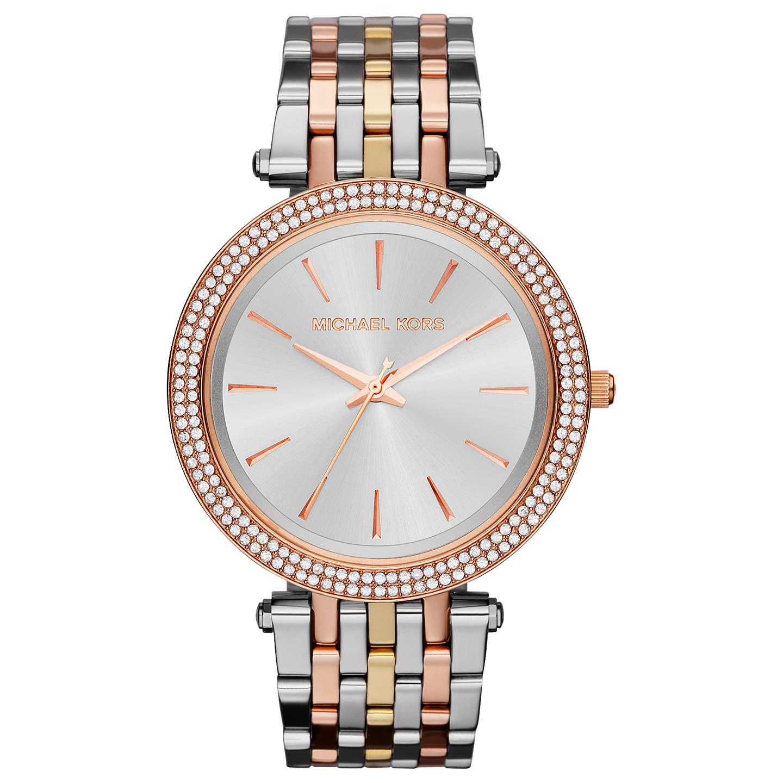 Michael Kors Mk3203 Women S Darci Tri Tone Bracelet Strap Watch Multi Online At Johnlewis