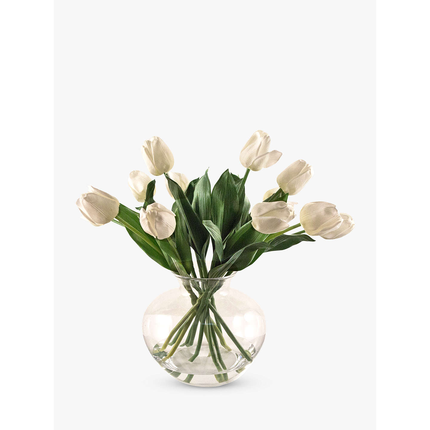 Peony artificial tulips in fluted glass bowl cream at john lewis buypeony artificial tulips in fluted glass bowl cream online at johnlewis mightylinksfo