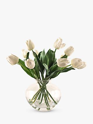 Peony Artificial Tulips In Fluted Gl Bowl Cream