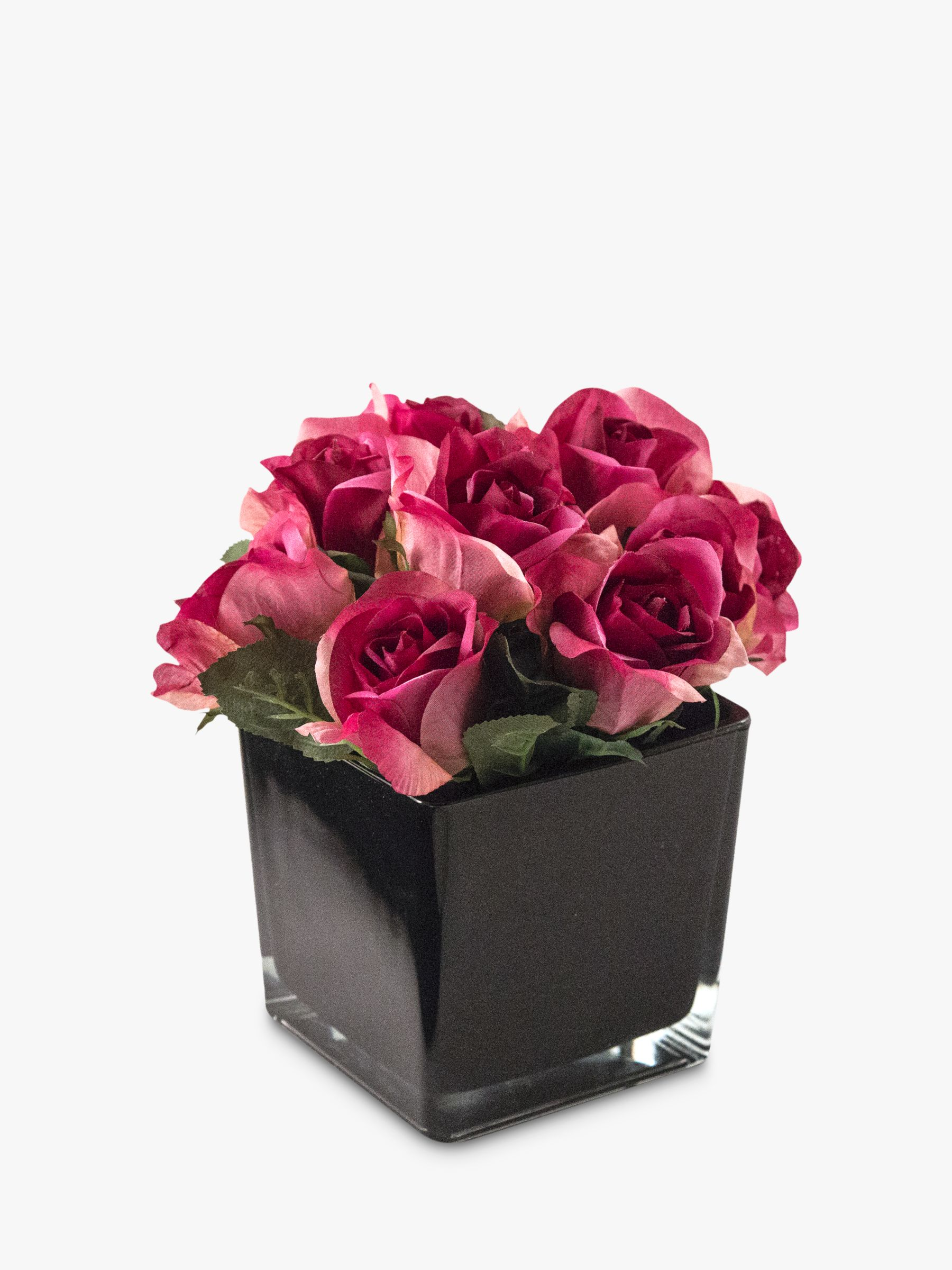 Peony Peony Artificial Roses in Black Cube, Large
