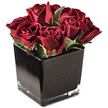 Buy Artificial Peony Roses in Black Cube, Fuchsia, Large Online at johnlewis.com