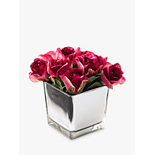 Buy Artificial Peony Roses in Mirror Cube, Large Online at johnlewis.com
