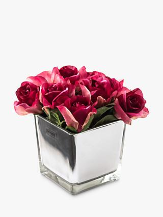 Peony Artificial Roses in Mirror Cube, Large