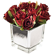 Buy Artificial Peony Roses in Mirror Cube, Yellow, Small Online at johnlewis.com