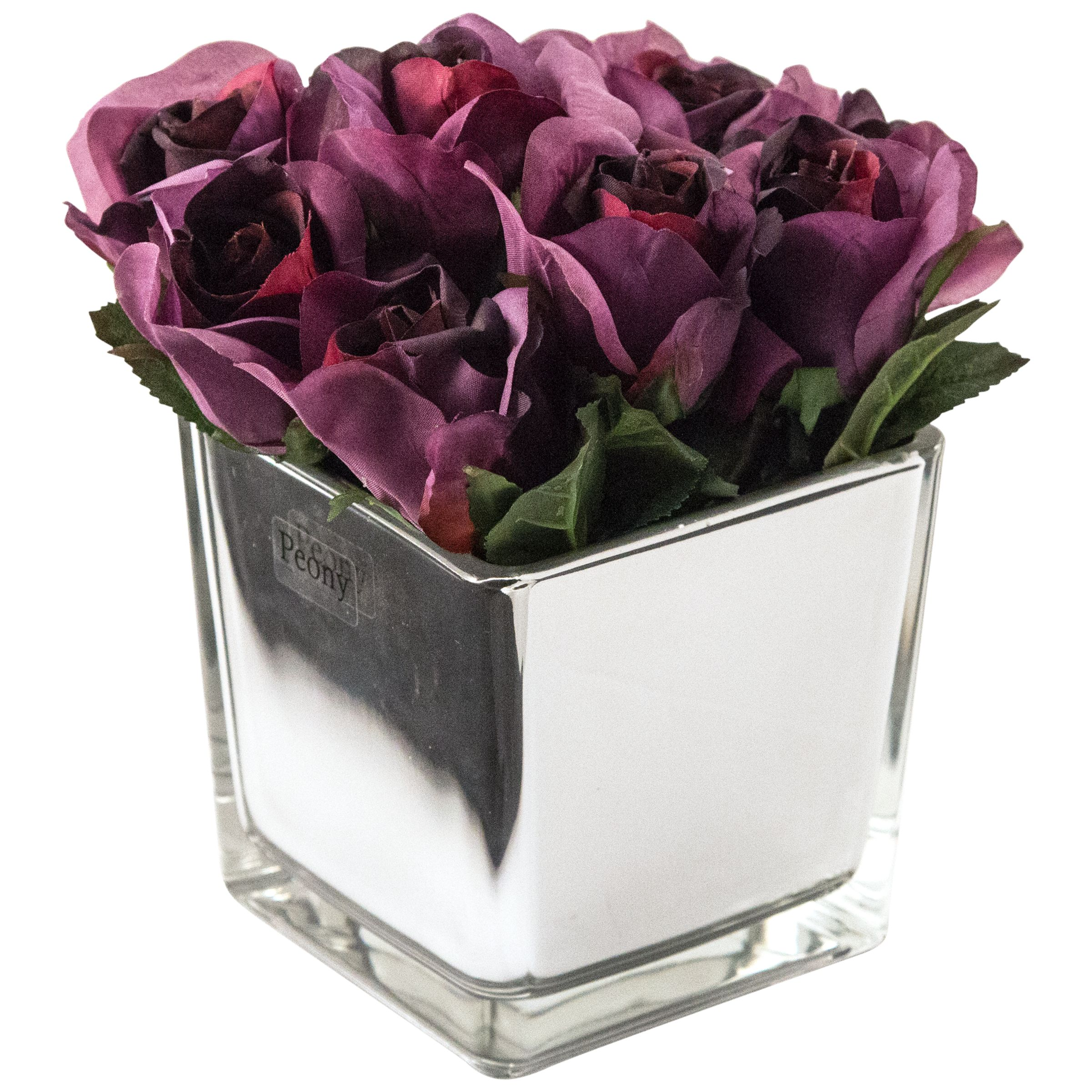 Peony Peony Artificial Roses in Mirror Cube, Large