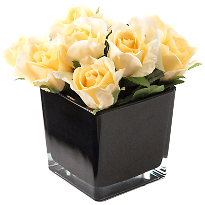 Artificial Peony Roses in Black Cube, Fuchsia, Large