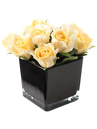 Peony Artificial Roses in Black Cube, Large