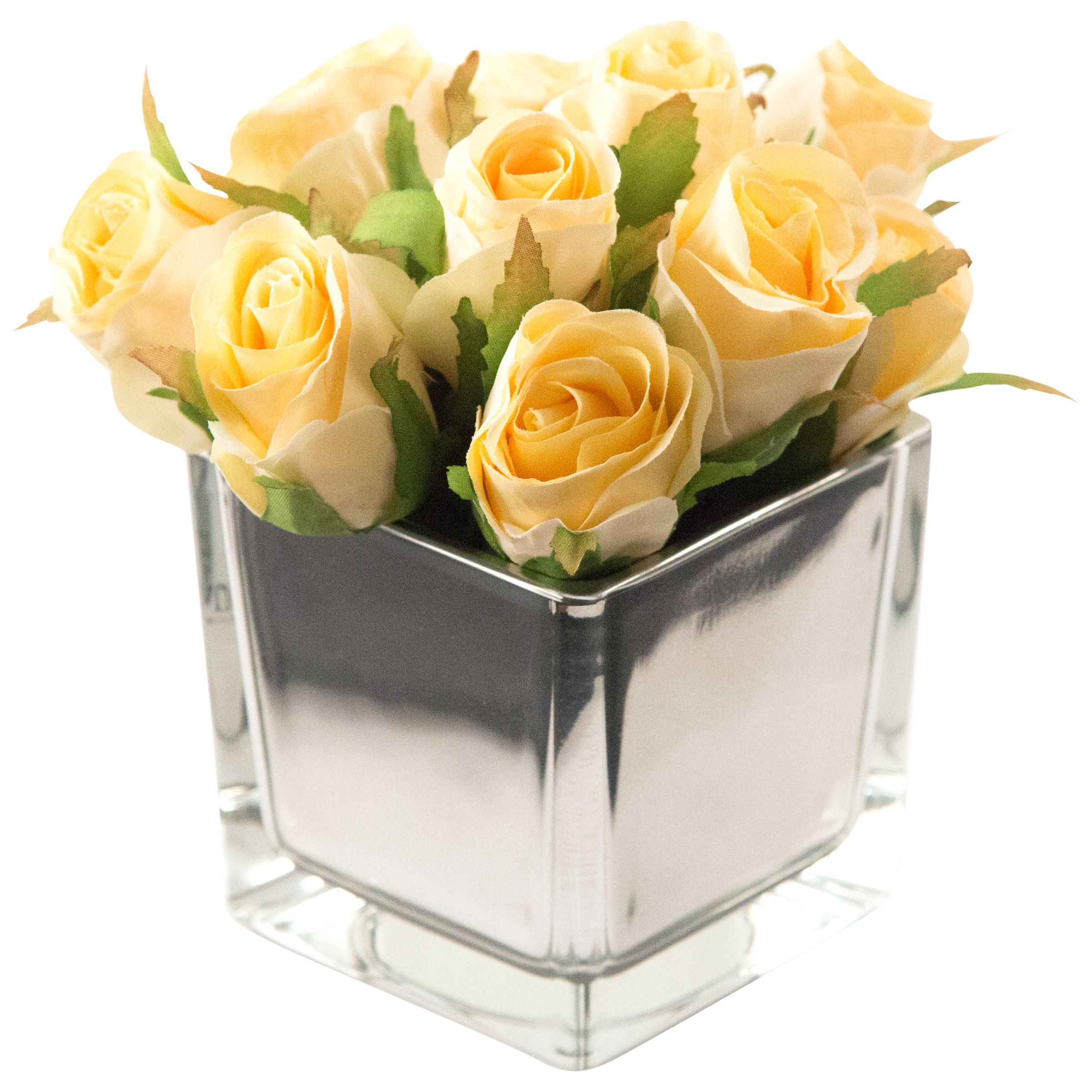Peony Peony Artificial Roses in Mirror Cube