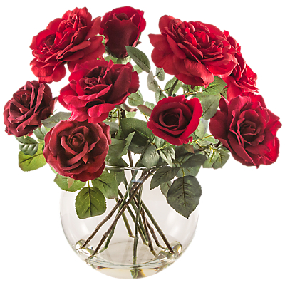 Image of Peony Artificial Mixed Red Roses in Fishbowl Vase