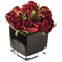 Buy Artificial Peony Roses in Black Cube, Fuchsia, Small Online at johnlewis.com