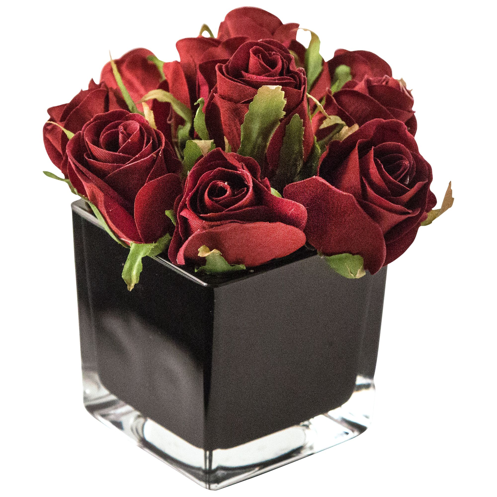 Peony Peony Artificial Roses in Black Cube