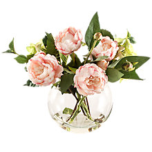 Buy Artificial Peony Dark Pink Peonies in Fish Bowl Vase Online at johnlewis.com