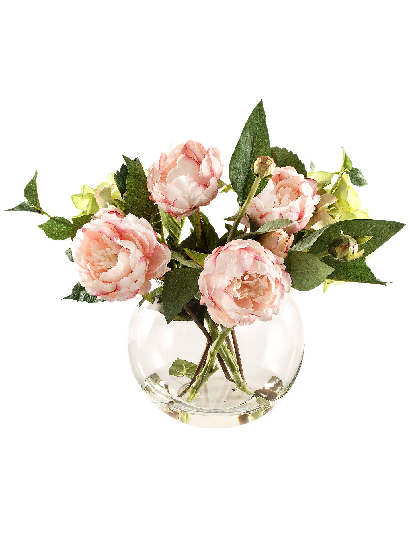 BuyArtificial Peony Dark Pink Peonies in Fish Bowl Vase Online at johnlewis.com