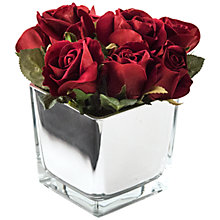 Buy Peony Artificial Roses in Mirror Cube, Large Online at johnlewis.com