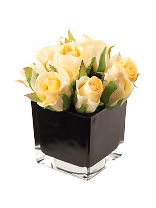 Peony Artificial Roses in Black Cube