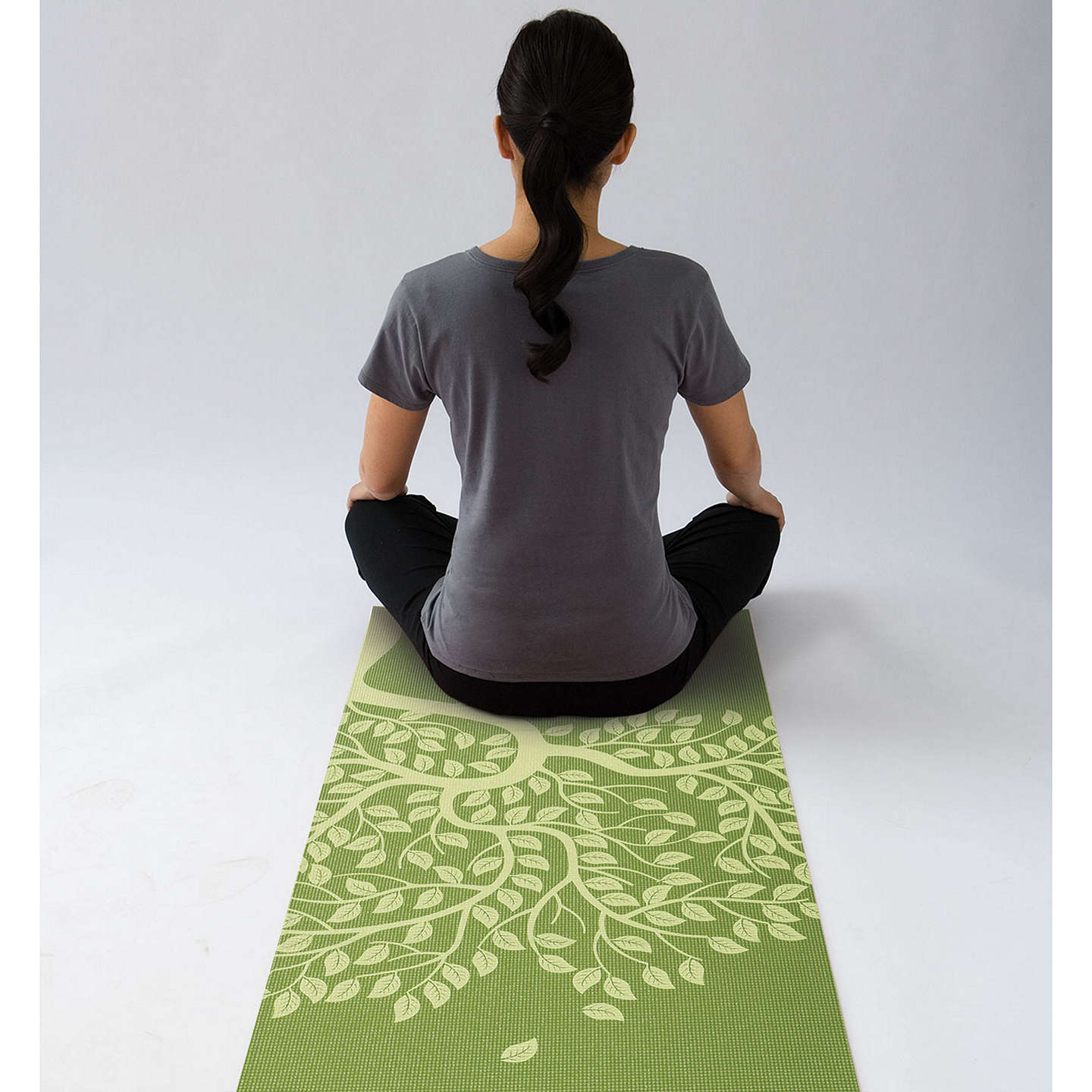 Gaiam Tree Of Life Printed 3mm Yoga Mat, Green At John Lewis