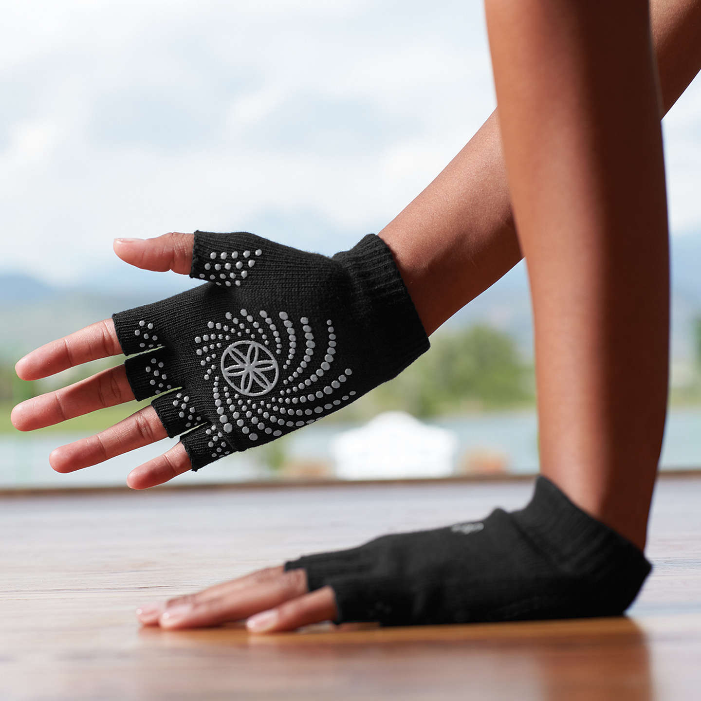 Gaiam Super Grippy Yoga Gloves, One Size, Black/Pink At
