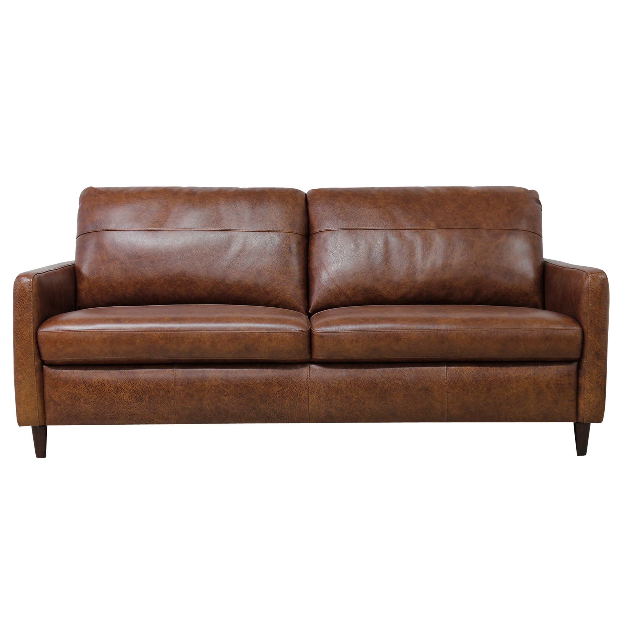 John Lewis Dalston Leather Large 3 Seater Sofa, Earth Bronx