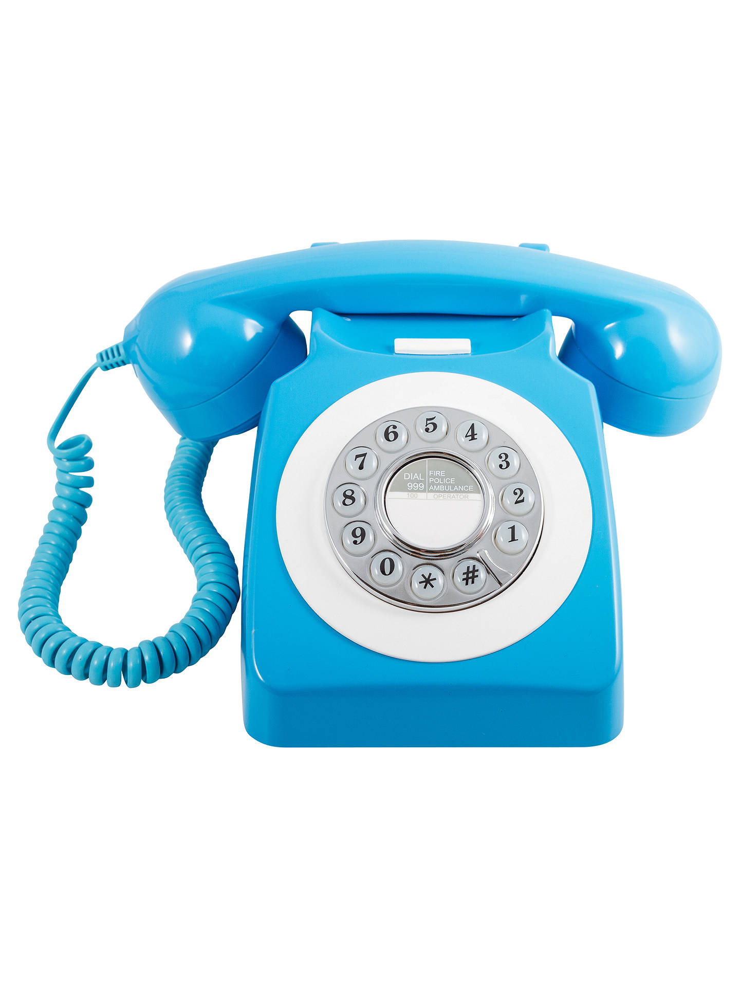 GPO 746 Retro Rotary Phone, Neon Blue at John Lewis & Partners