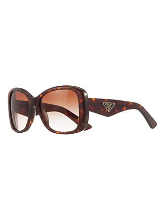 Prada PR32PS Women's Square Sunglasses, Havana/Brown Gradient