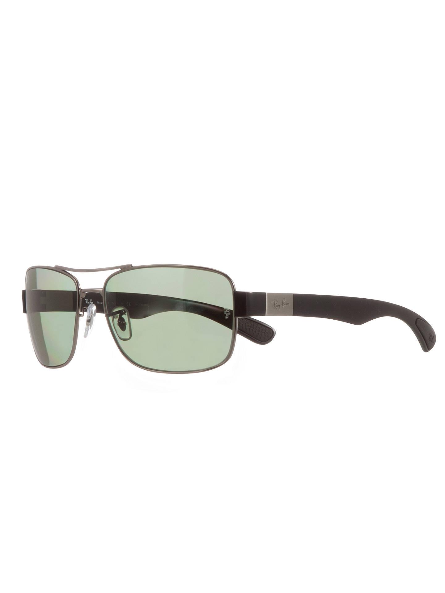 Ray-Ban RB3522 Square Framed Polarised Sunglasses, Green/Black at ...