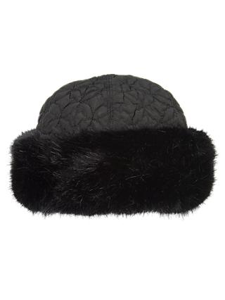 Chesca Faux Fur Trim Quilted Hat