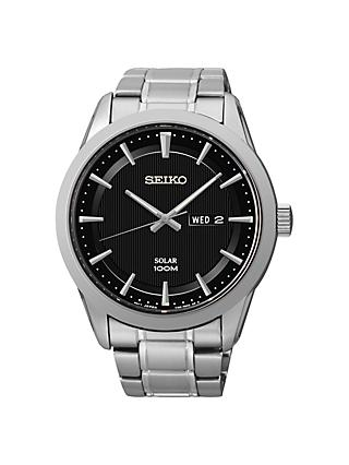 Seiko SNE363P1 Men's Solar Bracelet Strap Watch, Silver/Black