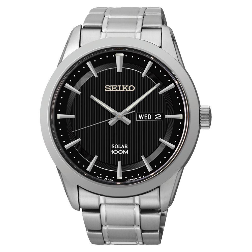 Seiko Seiko SNE363P1 Men's Solar Bracelet Strap Watch, Silver/Black