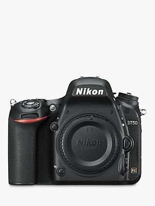 "Nikon D750 Digital SLR Camera, HD 1080p, 24.3MP, Wi-Fi, 3.2"" Tilting LCD Screen, Black, Body Only"