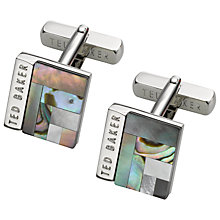 Buy Ted Baker Burro Art Deco Style Square Cufflinks, Grey Online at johnlewis.com