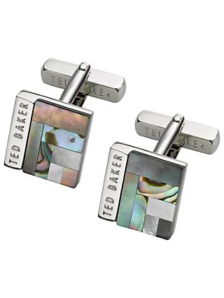 Ted Baker Burro Art Deco Style Square Cufflinks, Grey