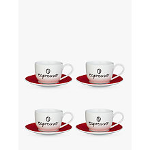 Buy John Lewis Espresso Cup and Saucer, Set of 4, Red/White Online at johnlewis.com