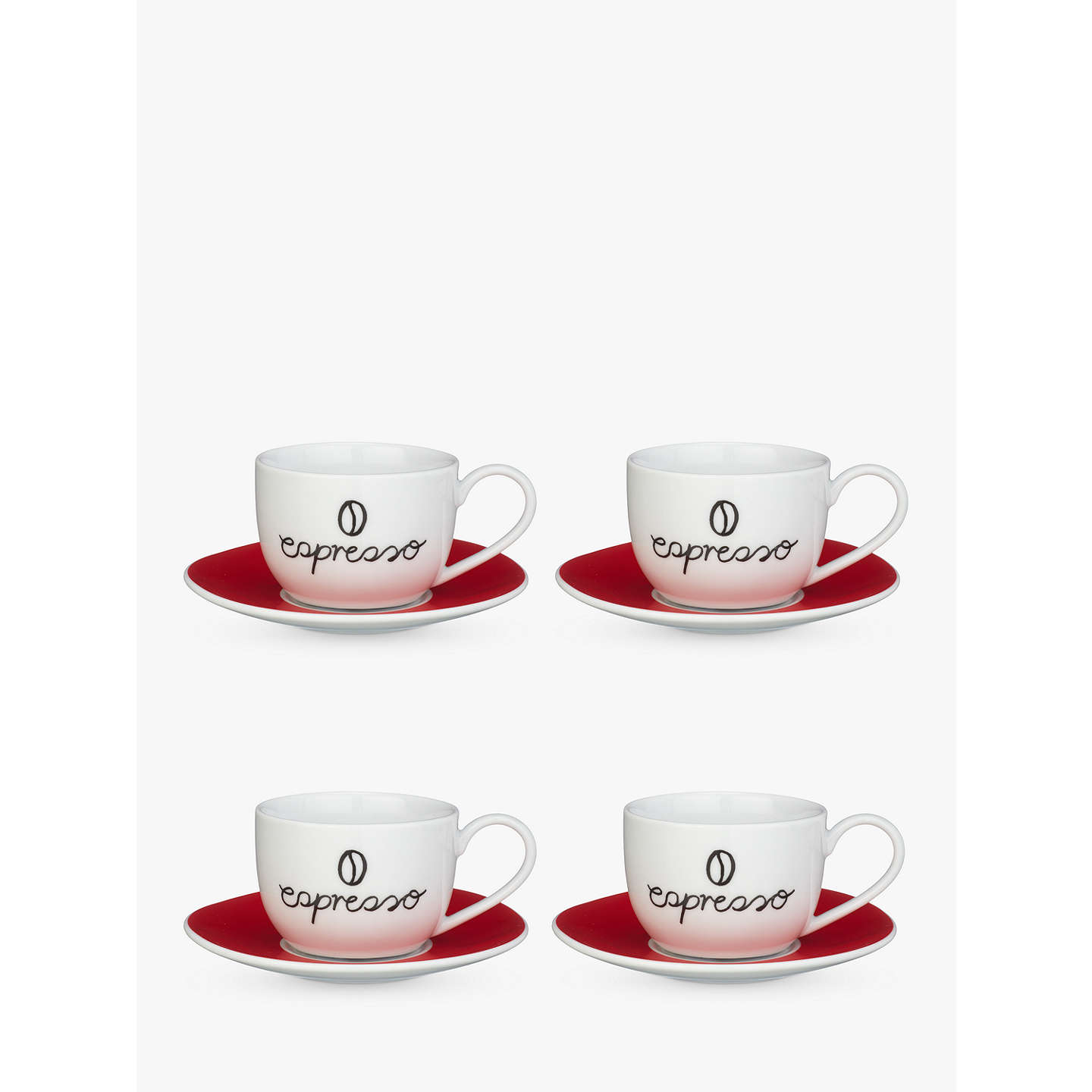 BuyJohn Lewis Espresso Cup And Saucer, Set Of 4, Red/White Online At ...