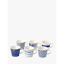 Buy Royal Doulton Pacific Porcelain Mugs, Set of 6, Blue Online at johnlewis.com