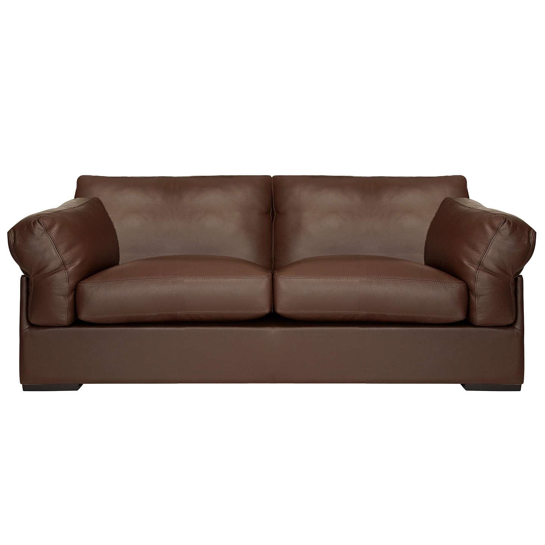 John Lewis Java Large 3 Seater Leather Sofa Nature Brown Online At Johnlewis