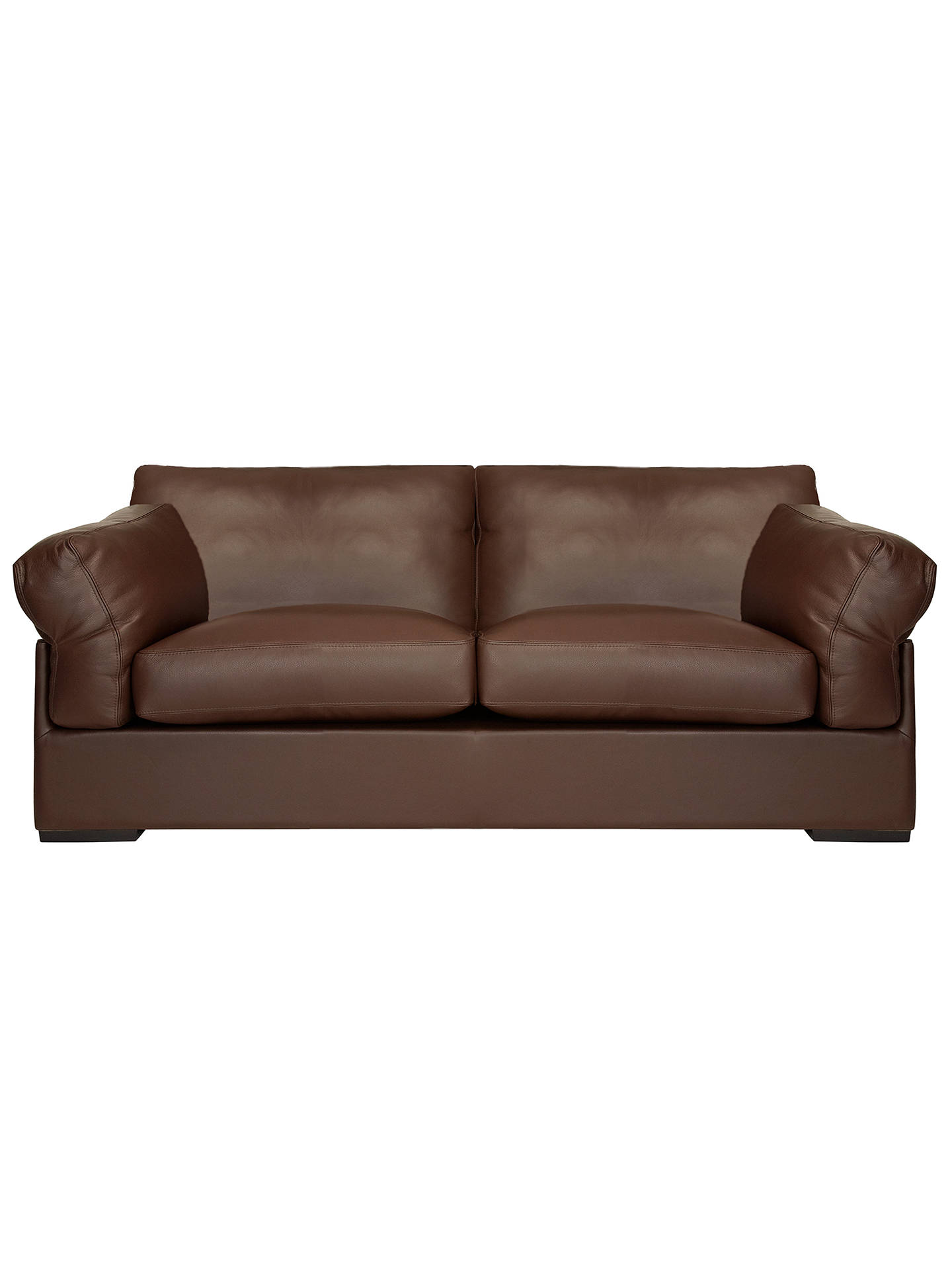John Lewis Partners Java Large 3 Seater Leather Sofa Nature Brown Online At Johnlewis