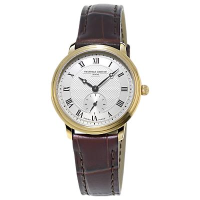 Frédérique Constant FC-235M1S5 Women's Slimline Leather Strap Watch, Brown/Gold