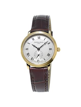 Frédérique Constant FC-235M1S5 Women's Slimline Leather Strap Watch, Brown/Gold