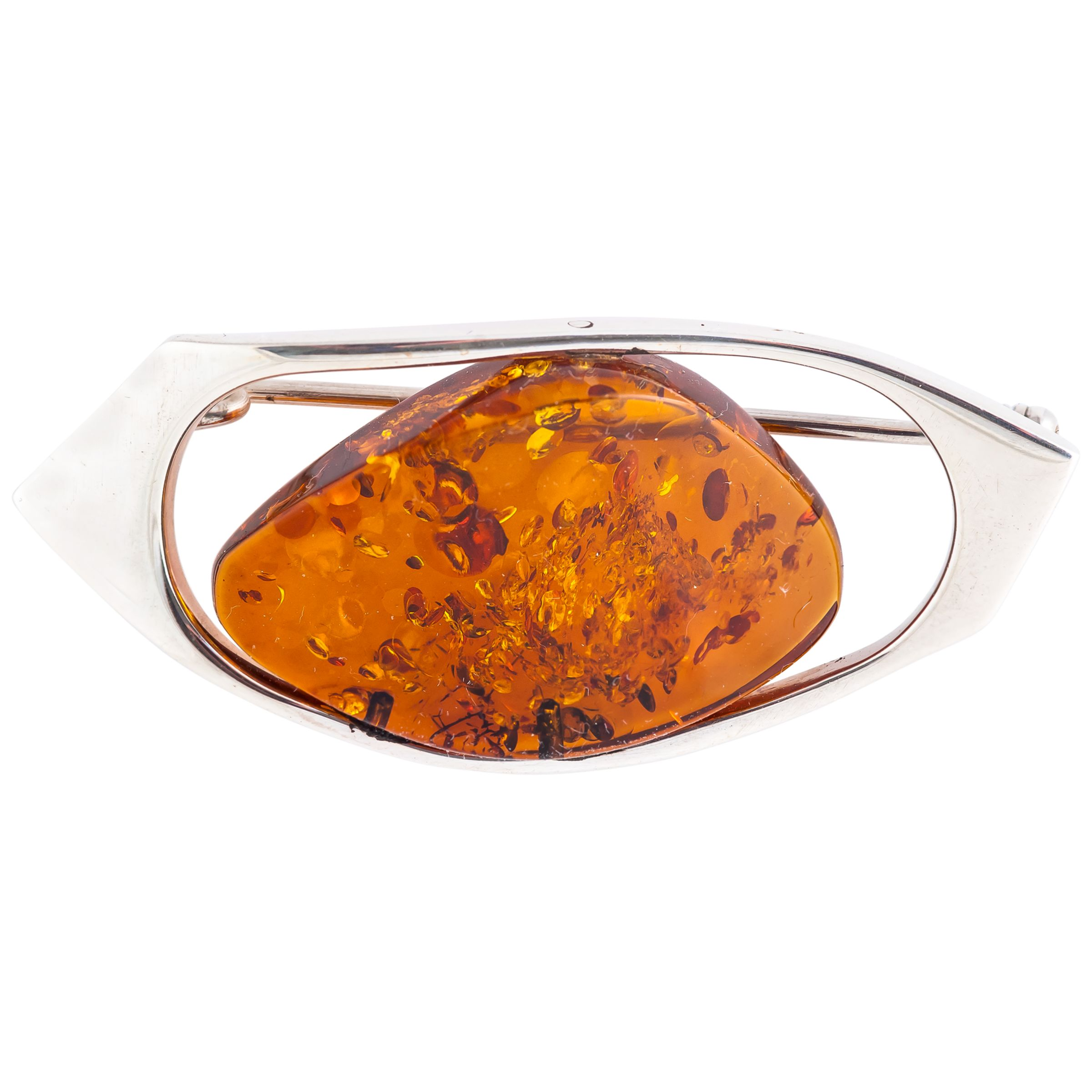 Be-Jewelled Be-Jewelled Amber Free Form Brooch, Cognac
