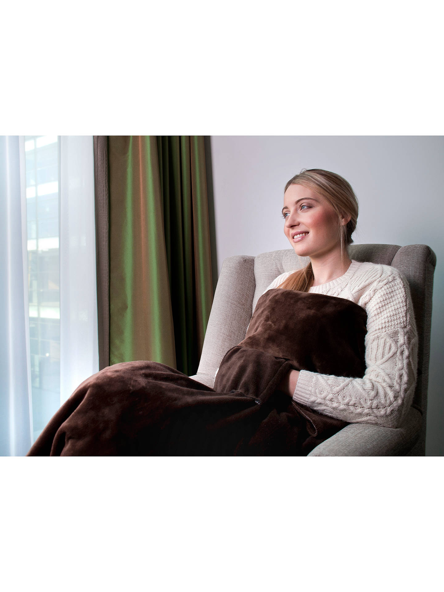 Dreamland Relaxwell Heated Electric Lap Blanket Chocolate Online At Johnlewis
