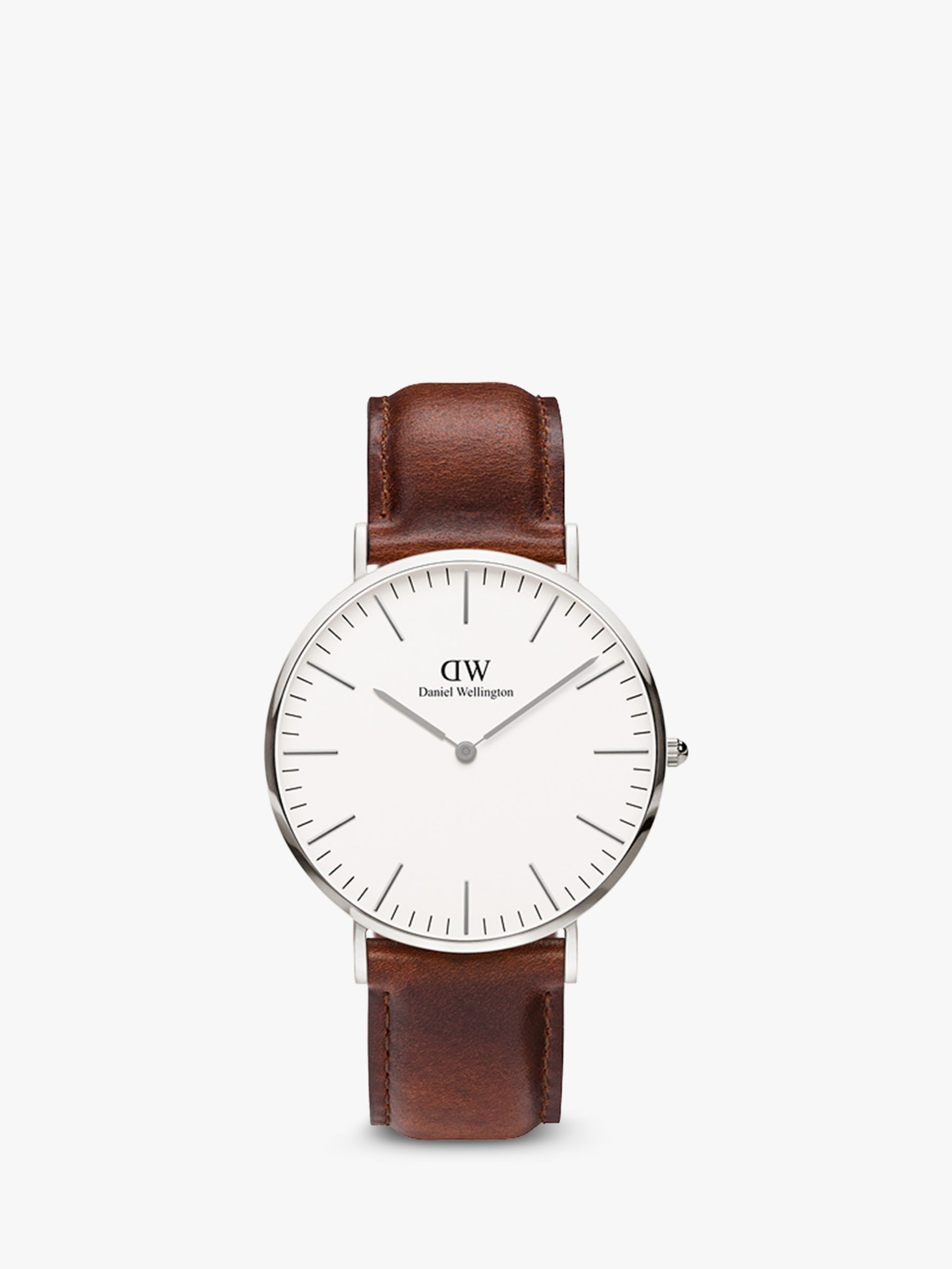 Daniel Wellington Daniel Wellington DW00100021 Men's 40mm Classic St. Mawes Leather Strap Watch, Brown/White