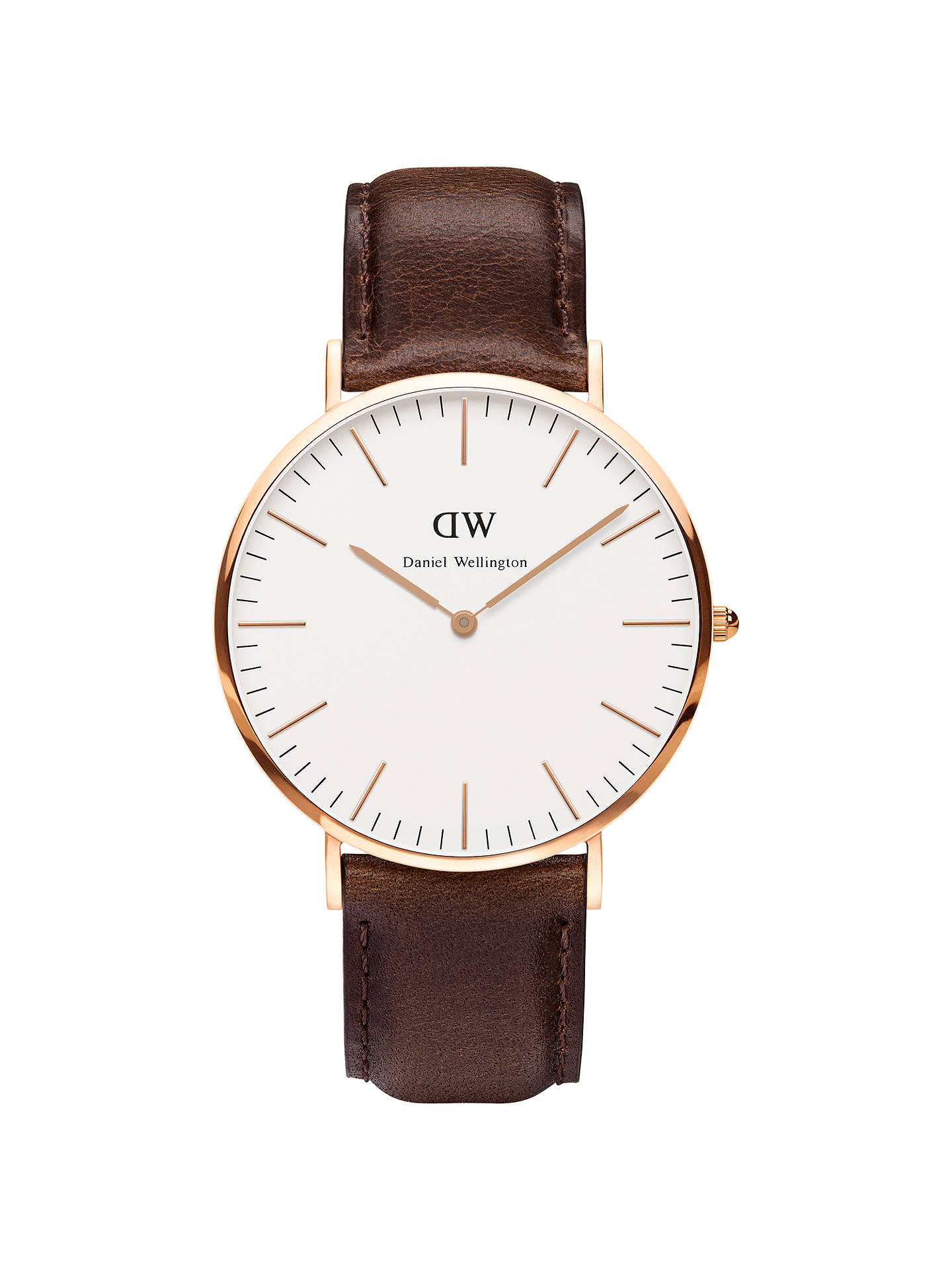cee6e70f7 Buy Daniel Wellington DW00100009 Men's Classy Rose Gold Plated Leather  Strap Watch, Brown/White ...