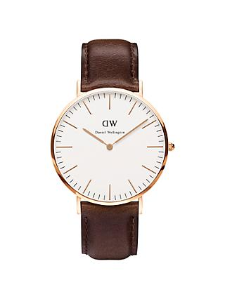 Daniel Wellington DW00100009 Men's Classy Rose Gold Plated Leather Strap Watch, Brown/White