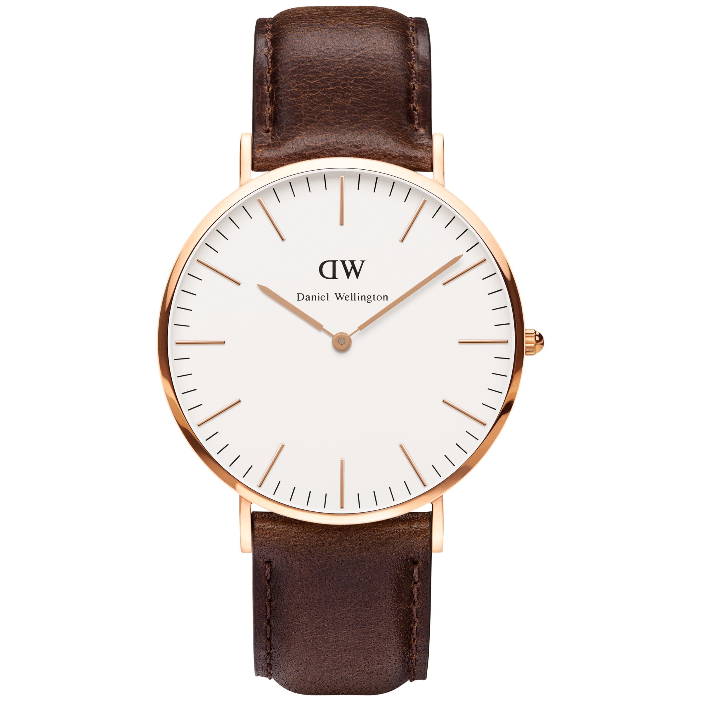 Daniel Wellington Daniel Wellington DW00100009 Men's 40mm Classy Rose Gold Plated Leather Strap Watch, Brown/White