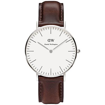 Daniel Wellington 0611DW Women's Bristol Leather Strap Watch, Brown/White